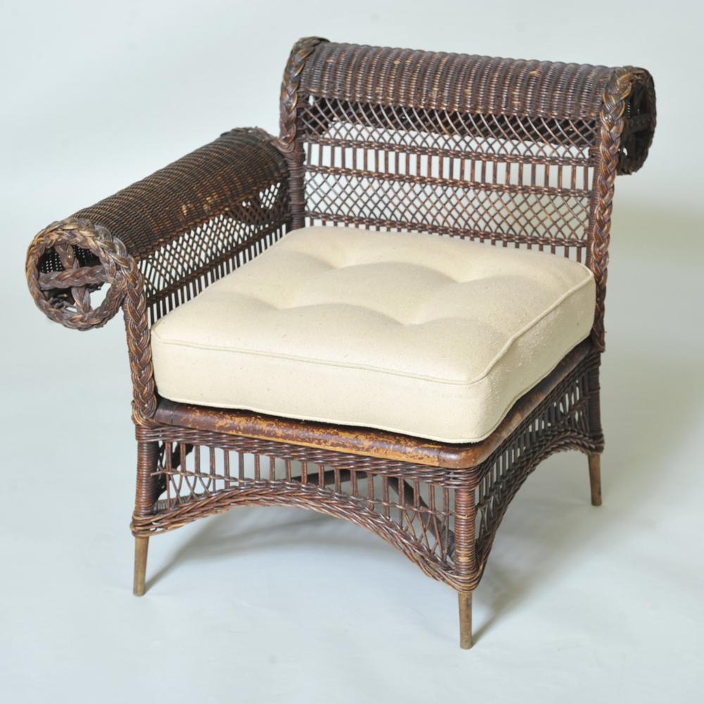 Antique Wicker Corner Chair