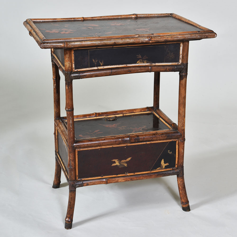 Vintage Bamboo And Lacquer Side Table Elaine Phillips