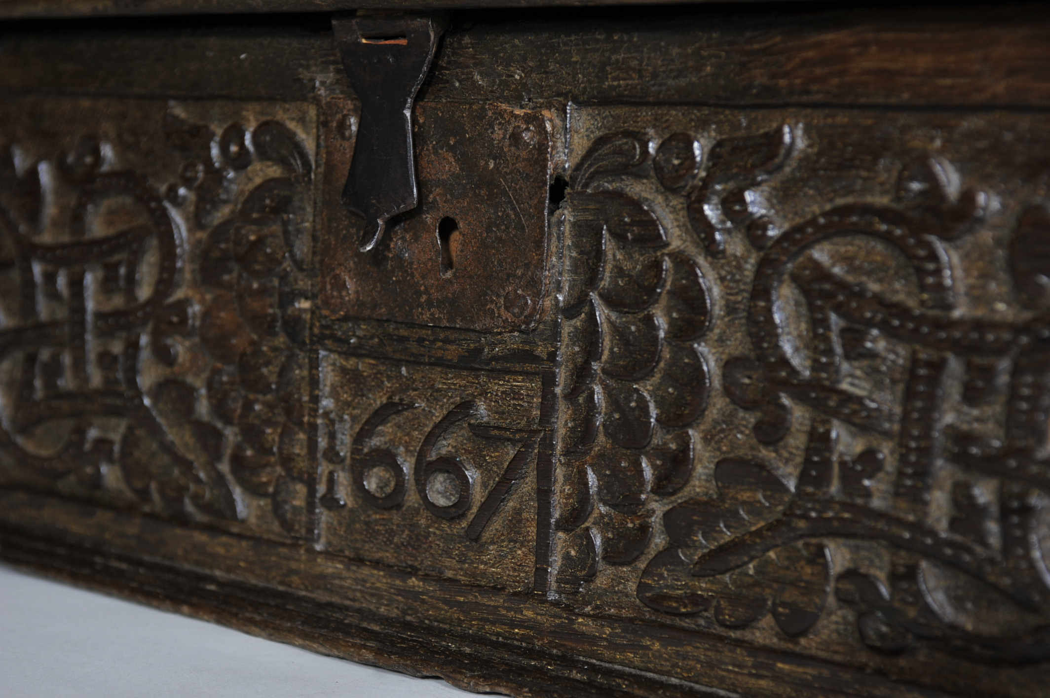 Good Dated 17th Century Oak Bible Box Elaine Phillips